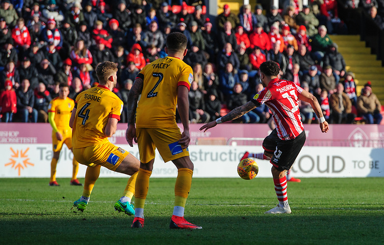 Lincoln City's Bruno Andrade scores the opening goal<br /> <br /> Photographer Chris Vaughan/CameraSport<br /> <br /> The EFL Sky Bet League Two - Lincoln City v Northampton Town - Saturday 9th February 2019 - Sincil Bank - Lincoln<br /> <br /> World Copyright © 2019 CameraSport. All rights reserved. 43 Linden Ave. Countesthorpe. Leicester. England. LE8 5PG - Tel: +44 (0) 116 277 4147 - admin@camerasport.com - www.camerasport.com