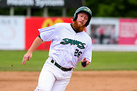 Beloit Snappers first baseman Hunter Hargrove (26) rounds third base during a Midwest League game against the Quad Cities River Bandits on May 20, 2018 at Pohlman Field in Beloit, Wisconsin. Beloit defeated Quad Cities 3-2. (Brad Krause/Four Seam Images)