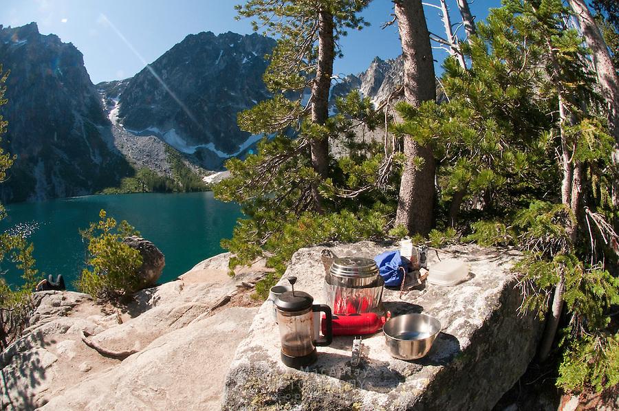 Campsite scene on Colchuck Lake, Alpine Lakes Wilderness, WA.