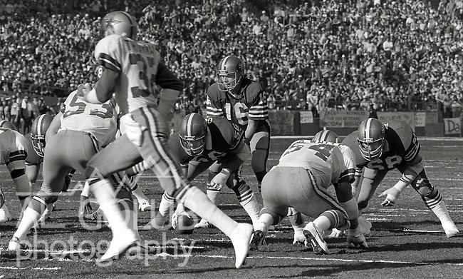 San Francisco 49ers vs.Dallas Cowboys at Candlestick Park Sunday, January 10. 1982..49ers beat Cowboys 28-27 for Conference Championship..49ers with Joe Montana (16) line up on the ball...Photo By Al Golub/Golub Photography.