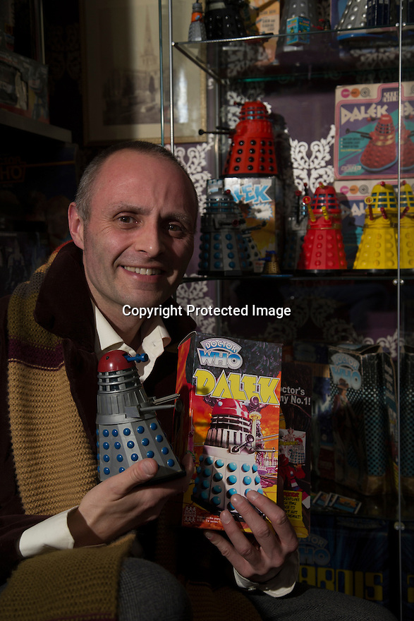 14/04/2016<br /> <br /> It is not the usual collection that springs to mind when you think about the church, but for one priest his passion for collecting vintage Dr Who is far from ordinary.<br /> <br /> Reverend Tim Baker even shares a remarkably similar name to his favourite childhood TV hero actor Tom Baker, who played the role of Dr Who from 1974 to 1981.<br /> <br /> But there is more to Tim's enthusiasm for the hit BBC series than just a coincidental sharing of surnames, for he has collected memorabilia from the show for close to 35 years.<br /> <br /> <br /> All Rights Reserved: F Stop Press Ltd. +44(0)1335 418365   +44 (0)7765 242650 www.fstoppress.com