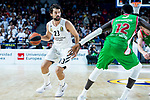 Real Madrid Sergio Llull and Kirolbet Baskonia Ilimane Diop during Turkish Airlines Euroleague match between Real Madrid and Kirolbet Baskonia at Wizink Center in Madrid, Spain. October 19, 2018. (ALTERPHOTOS/Borja B.Hojas)
