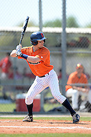 Gettysburg Bullets catcher Ben Langey (9) at bat during the second game of a doubleheader against the Edgewood Eagles at the Lee County Player Development Complex on March 10, 2014 in Fort Myers, Florida.  Edgewood defeated Gettysburg 5-1.  (Mike Janes/Four Seam Images)