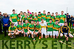 Lixnaw team celebrate winning the County Minor Hurling Final over Saint Brendans at Kilmoyley on Saturday.