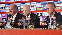 FUSSBALL  1. BUNDESLIGA   SAISON  2012/2013  03.07.2012 Pressekonferenz beim FC Bayern Muenchen  Praesident Uli Hoeness, Sportvorstand Matthias Sammer, Vorstandsvorsitzender Karl Heinz Rummenigge (v. li.)