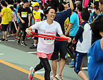 September 30, 2017, Tokyo, Japan - Special Olympics Nippon Foundation president Yuko Arimori runrs at a charity run for the Special Olympics at Toyota's showroom Mega Web in Tokyo on Saturday, September 30, 2017. Some 1,800 people participated the charity event as Japan's Special Olympic Games will be held in Aichi in 2018.   (Photo by Yoshio Tsunoda/AFLO) LWX -ytd-