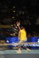 BOGOTA-COLOMBIA-15-12-2012: Jo Wilfred Tsonga, en acccion durante partido de exhibición entre Jo Wilfred Tsonga tenista de Francia y Roger Fededer tenista de Suiza, en el Coliseo El Campín de Bogotá, Colombia, diciembre 15 de 2012. Jo Wlfred Tsonga in action during the exhibition match between Jo Wilfred Tsonga French tennis player and Roger Federer, Swiss tennis player and at El Campin Coliseo on December 15, 2012 in Bogota, Colombia. (Photo: VizzorImage/Luis Ramirez).