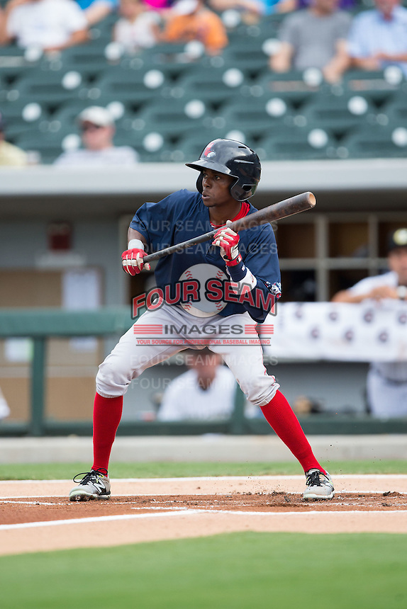 Jose Vinicio (2) of the Pawtucket Red Sox squares to bunt against the Charlotte Knights at BB&T BallPark on July 6, 2016 in Charlotte, North Carolina.  The Knights defeated the Red Sox 8-6.  (Brian Westerholt/Four Seam Images)