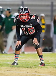 San Pedro, CA 11/27/15 - Tre Gonzales (Palos Verdes #46) in action during the CIF Western Division semi-final game between Mira Costa and Palos Verdes.  Palos Verdes defeated Mira Costa to advance to the Western Division finals.