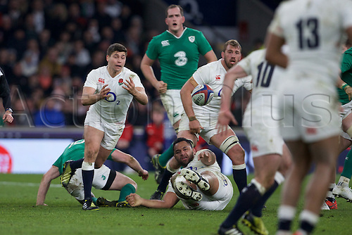 27.02.2016. Twickenham, London, England. RBS Six Nations Championships. England versus Ireland. England scrum-half Ben Youngs passes the ball.