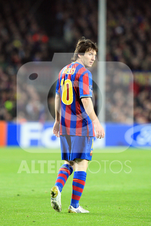 Lionel Messi during the UEFA Champions League quarter final second leg match between Barcelona and Arsenal at Camp Nou on April 6, 2010 in Barcelona, Spain.