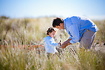 Father and daughter in the dunes; shot on location in Stinson Beach. Lifestyle photography