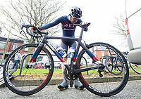 Picture by Allan McKenzie/SWpix.com - 15/04/18 - Cycling - HSBC UK British Cycling Spring Cup Road Series - Chorley Grand Prix 2018 - Chorley, England - JLT Condor, Edmund Bradbury checks his bike over.