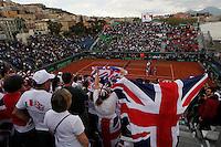 Britain's supporterduring Davis Cup quarter-final doubles tennis match  in Naples April 5, 2014.