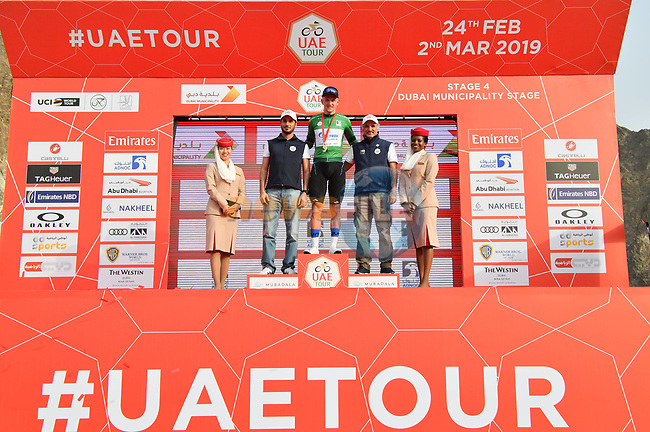 Stepan Kuriyanov (RUS) Gazprom–Rusvelo retains the Green Jersey at the end of Stage 4 of the 2019 UAE Tour, running 197km form The Pointe Palm Jumeirah to Hatta Dam, Dubai, United Arab Emirates. 26th February 2019.<br /> Picture: LaPresse/Massimo Paolone | Cyclefile<br /> <br /> <br /> All photos usage must carry mandatory copyright credit (© Cyclefile | LaPresse/Massimo Paolone)