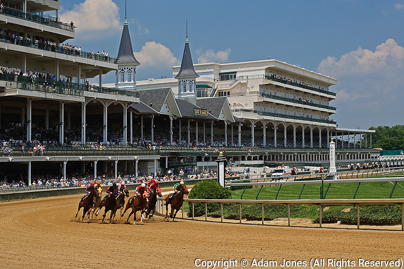 Thoroughbred horse racing at the newly renovated Churchill Downs, Louisville, Kentucky.