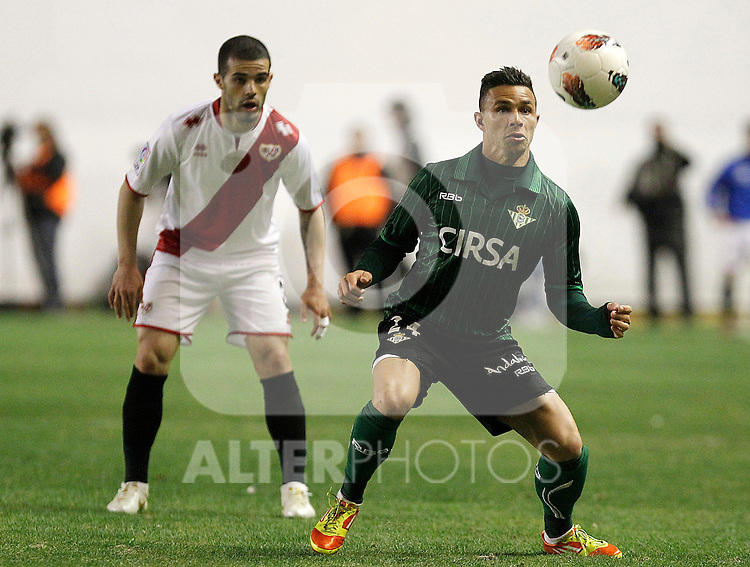 Rayo Vallecano's Jose Manuel Casado and Betis' Ruben Castro (r) during La Liga match.March 17,2012. (ALTERPHOTOS/Acero)