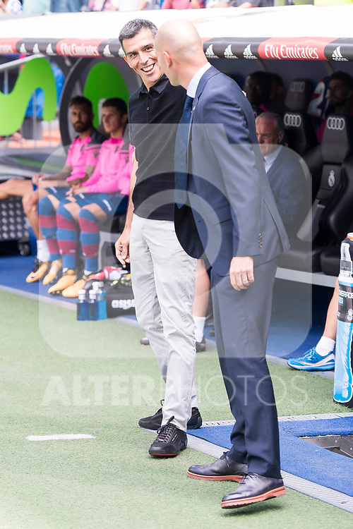 Real Madrid's coach Zinedine Zidane and Levante's coach Juan Ramon Lopez Muniz during La Liga match between Real Madrid and Levante UD at Santiago Bernabeu Stadium in Madrid, Spain September 09, 2017. (ALTERPHOTOS/Borja B.Hojas)