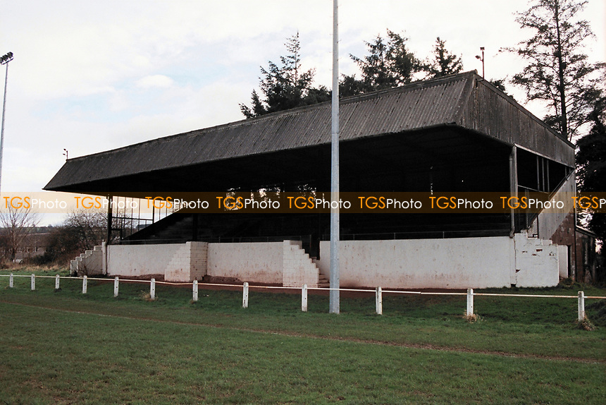 The main stand at Abergavenny Thursdays FC Football Ground, Pen-Y-Pound Stadium, Abergavenny, Gwent, Wales, pictured on 31st December 1994
