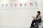 April 8, 2016, Tokyo, Japan - Tokyo2020 emblem selection committee member, Aki Taguchi of a Paralympiuan announces the four candidate designs of Tokyo2020 Olympic and Paralympic Games emblems in Tokyo on Friday, April 8, 2016. The committee will decide the final design from the 14,599 entry designs on April 25.  (Photo by Yoshio Tsunoda/AFLO) LWX -ytd-