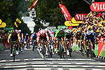 Dylan Groenewegen (NED) Team LotoNL-Jumbo outsprints Andre Greipel (GER) Lotto-Soudal and Fernando Gaviria (COL) Quick-Step Floors to win Stage 8 of the 2018 Tour de France running 181km from Dreux to Amiens Metropole, France. 14th July 2018. <br /> Picture: ASO/Alex Broadway | Cyclefile<br /> All photos usage must carry mandatory copyright credit (&copy; Cyclefile | ASO/Alex Broadway)