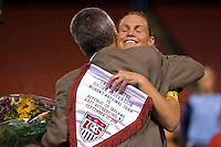 United States (USA) defender Christie Rampone (3) is honored for her 200th national team appearance by US Soccer Federation president Sunil Gulati. The women's national team of the United States (USA) defeated the Republic of Ireland (IRL) during an international friendly at Giants Stadium in East Rutherford, NJ on September 17, 2008. Photo by Howard C. Smith/isiphotos.com
