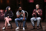 """Gabriella Sorrentino, Deon'te Goodman and Kyle Weiler during the eduHAM Q & A before The Rockefeller Foundation and The Gilder Lehrman Institute of American History sponsored High School student #EduHam matinee performance of """"Hamilton"""" at the Richard Rodgers Theatre on October 30, 2019 in New York City."""