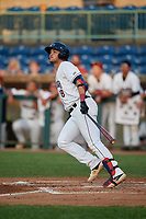 Mahoning Valley Scrappers Henry Pujols (8) hits a home run during a NY-Penn League game against the Hudson Valley Renegades on July 15, 2019 at Eastwood Field in Niles, Ohio.  Mahoning Valley defeated Hudson Valley 6-5.  (Mike Janes/Four Seam Images)