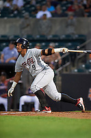 Tri-City ValleyCats third baseman Cesar Carrasco (9) at bat during a game against the Aberdeen Ironbirds on August 6, 2015 at Ripken Stadium in Aberdeen, Maryland.  Tri-City defeated Aberdeen 5-0 in a combined no-hitter.  (Mike Janes/Four Seam Images)