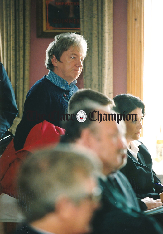 Emer Colleran of the Anti-Mullaghmore Development Group attended the launch of Getting It Right For The Burren, a joint publication from the IFA and the Heritage Council, which was held at Cassidy's of Carron - March 17, 2000. Photograph by John Kelly