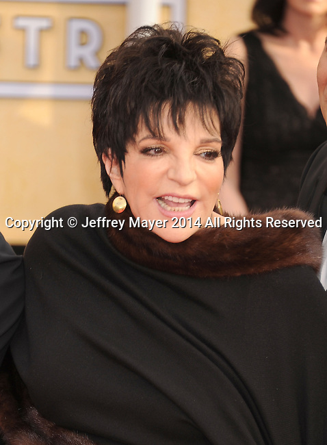 LOS ANGELES, CA- JANUARY 18: Actress/singer Liza Minnelli arrives at the 20th Annual Screen Actors Guild Awards at The Shrine Auditorium on January 18, 2014 in Los Angeles, California.