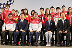 (L-R)  Koichi Kagiuda, Hirokazu Matsuno,  Shinzo Abe,  Seiko Hashimoto, Toshiro Muto, <br /> AUGUST 21, 2016 - : <br /> Japanese prime minister Shinzo Abe attended the exchange meeting with Japan National team member and <br /> their medalist<br /> at Japan House in Rio de Janeiro <br /> during the Rio 2016 Olympic Games in Rio de Janeiro, Brazil. <br /> (Photo by Yusuke Nakanishi/AFLO SPORT)