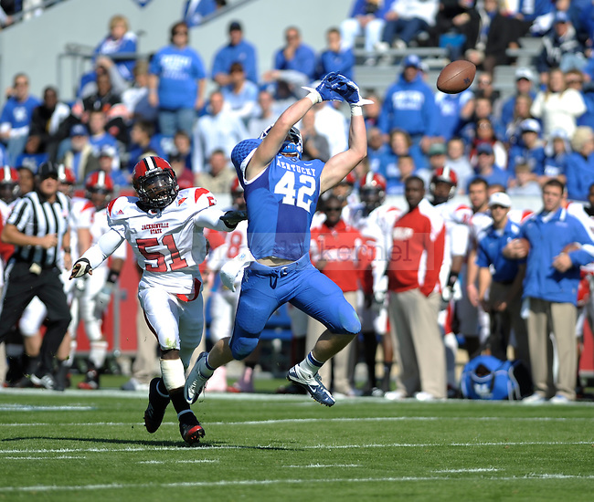 UK tight end Nick Melillo misses a pass during the first half of the University of Kentucky football game against Jacksonville State at Commonwealth Stadium in Lexington, Ky., on 10/22/11. Uk led the game at half 24-7. Photo by Mike Weaver | Staff