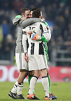 Calcio, Serie A: Juventus vs Roma. Torino, Juventus Stadium,17 dicembre 2016. <br /> From left, Juventus' Gonzalo Higuain, Gianluigi Buffon and Andrea Barzagli celebrate at the end of the Italian Serie A football match between Juventus and Roma at Turin's Juventus Stadium, 17 December 2016. Juventus won 1-0.<br /> UPDATE IMAGES PRESS/Isabella Bonotto