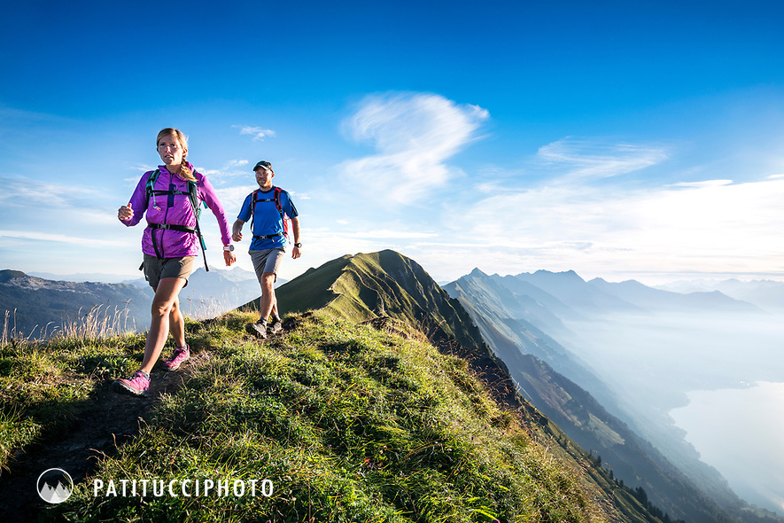 Hiking on the famous Hardergrat, aka Brienzergrat, a long ridgeline above the Brienzersee connecting Interlaken with Brienz, Switzerland
