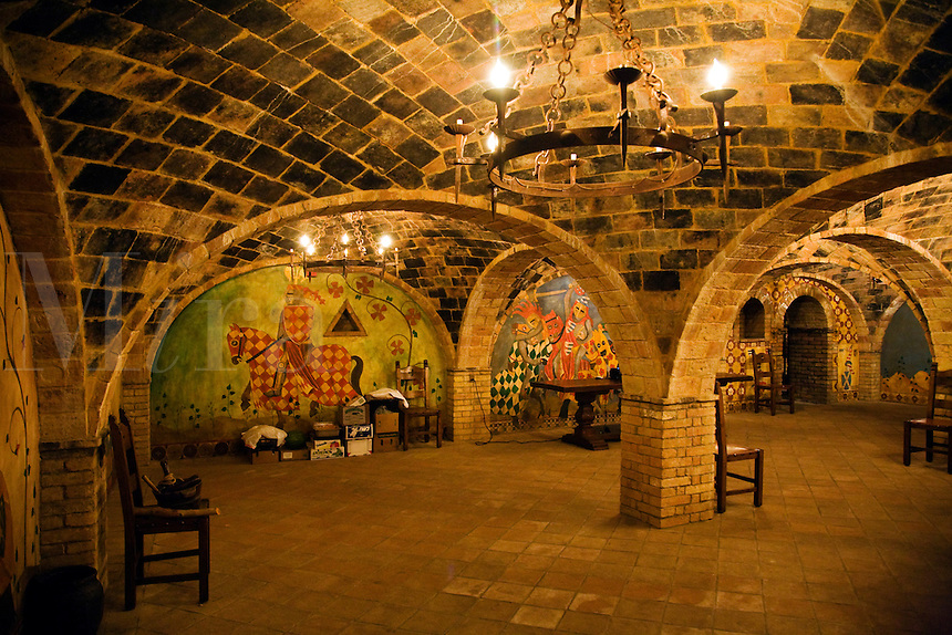 Underground cellar at CASTELLO DI AMAROSA, a WINERY housed by an authentic but recently constructed ITALIAN CASTLE located near CALISTOGA - NAPA VALLEY, CALIFORNIA