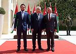 Palestinian President Mahmoud Abbas, Jordanian King Abdullah II and Jordanian Crown Prince Hussein bin Abdullah pose for a photo in Amman, Jordan on Aug. 08, 2018. Photo by Thaer Ganaim