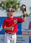 5 March 2015: Washington Nationals outfielder Tyler Moore warms up prior to a Spring Training game against the New York Mets at Space Coast Stadium in Viera, Florida. The Nationals rallied to defeat the Mets 5-4 in their Grapefruit League home opening game. Mandatory Credit: Ed Wolfstein Photo *** RAW (NEF) Image File Available ***
