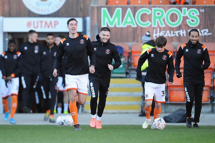 Blackpool during the pre-match warm-up <br /> <br /> Photographer Kevin Barnes/CameraSport<br /> <br /> Emirates FA Cup Second Round - Blackpool v Maidstone United - Sunday 1st December 2019 - Bloomfield Road - Blackpool<br />  <br /> World Copyright © 2019 CameraSport. All rights reserved. 43 Linden Ave. Countesthorpe. Leicester. England. LE8 5PG - Tel: +44 (0) 116 277 4147 - admin@camerasport.com - www.camerasport.com