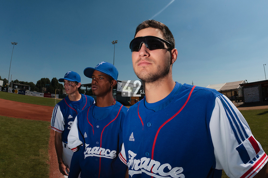 20 August 2010: Closer Joris Navarro of Team France is seen next to Luis de la Rosa and Maxime Charlot prior to France 6-5 win over Italy, at the 2010 European Championship, under 21, in Brno, Czech Republic.