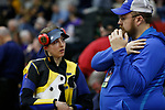COLUMBUS, OH - MARCH 11: Althea Sellars of West Virginia University speaks with head coach Alan Lollar competes during the Division I Rifle Championships held at The French Field House on the Ohio State University campus on March 11, 2017 in Columbus, Ohio. (Photo by Jay LaPrete/NCAA Photos via Getty Images)