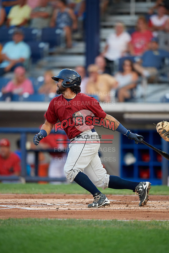 Mahoning Valley Scrappers catcher Jason Rodriguez (9) follows through on a swing during a game against the Williamsport Crosscutters on August 28, 2018 at BB&T Ballpark in Williamsport, Pennsylvania.  Williamsport defeated Mahoning Valley 8-0.  (Mike Janes/Four Seam Images)