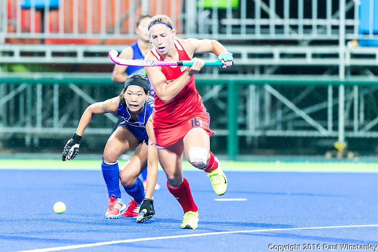 Katie Bam #16 of United States runs to the ball during USA vs Japan in a Pool B game at the Rio 2016 Olympics at the Olympic Hockey Centre in Rio de Janeiro, Brazil.