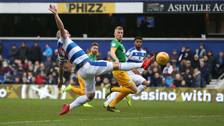 Queens Park Rangers' Toni Leistner clears ahead of Preston North End's Jayden Stockley<br /> <br /> Photographer Rob Newell/CameraSport<br /> <br /> The EFL Sky Bet Championship - Queens Park Rangers v Preston North End - Saturday 19 January 2019 - Loftus Road - London<br /> <br /> World Copyright © 2019 CameraSport. All rights reserved. 43 Linden Ave. Countesthorpe. Leicester. England. LE8 5PG - Tel: +44 (0) 116 277 4147 - admin@camerasport.com - www.camerasport.com
