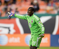 Bill Hamid (28) of D.C. United yells to his team during the game at RFK Stadium in Washington, DC.  D.C. United defeated Chivas USA, 1-0.