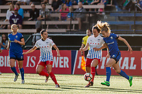 Seattle, WA - Wednesday, June 28, 2017: Beverly Yanez and Kathleen Naughton during a regular season National Women's Soccer League (NWSL) match between the Seattle Reign FC and the Chicago Red Stars at Memorial Stadium.