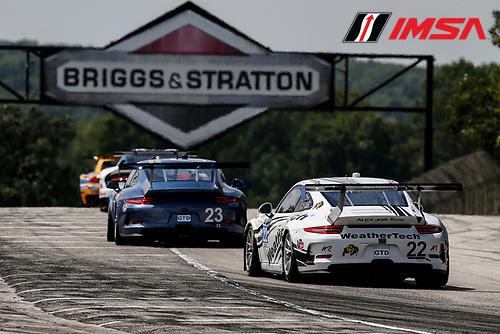 8-10 August 2014, Elkhart Lake, Wisconsin USA<br />  23, Porsche, 911 GT America, GTD, Ian James, Mario Farnbacher 22, Porsche, 911 GT America, GTD, Cooper MacNeil, Leh Keen<br /> &copy;2014, Michael L. Levitt<br /> LAT Photo USA for IMSA