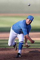 Zack Ortiz #35 of the UCLA Bruins pitches against the Washington State Cougars at Jackie Robinson Stadium on March 24, 2012 in Los Angeles,California. UCLA defeated Washington 12-3.(Larry Goren/Four Seam Images)
