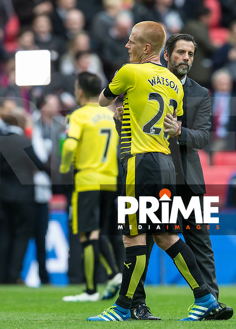 Watford Manager Quique Sanchez Flores  & Ben Watson of Watford at the final whistle during the FA Cup Semi Final match between Crystal Palace and Watford at Wembley Stadium, London, England on 24 April 2016. Photo by Andy Rowland.