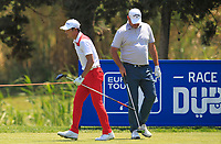 Eunshin Park (KOR) and Thomas Bjorn (DEN) on the 9th tee during Round 3 of the Rocco Forte Sicilian Open 2018 played at Verdura Resort, Agrigento, Sicily, Italy on Saturday 12th May 2018.<br /> Picture:  Thos Caffrey / www.golffile.ie<br /> <br /> All photo usage must carry mandatory copyright credit (&copy; Golffile | Thos Caffrey)